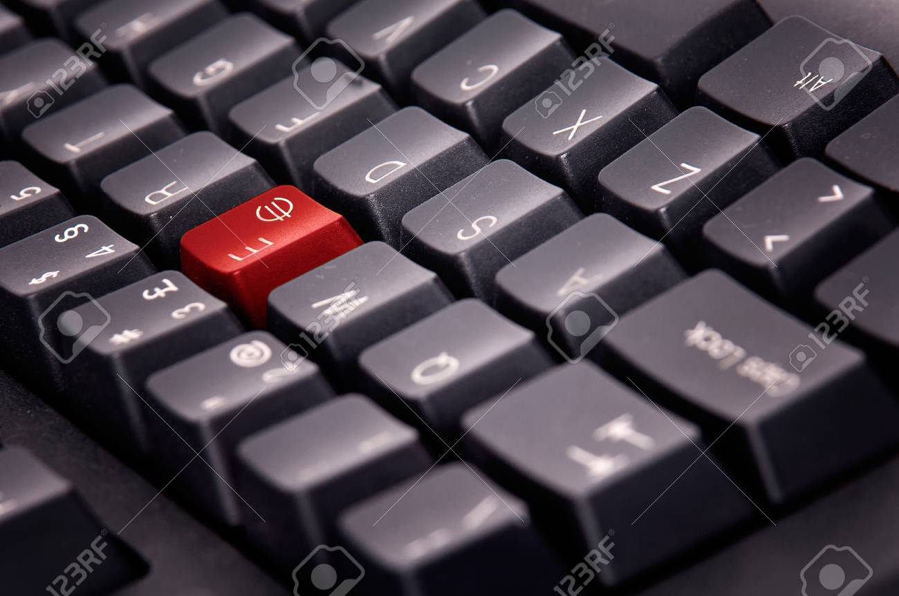 Computer Keyboard With Euro Symbol Key In Red Stock Photo Picture