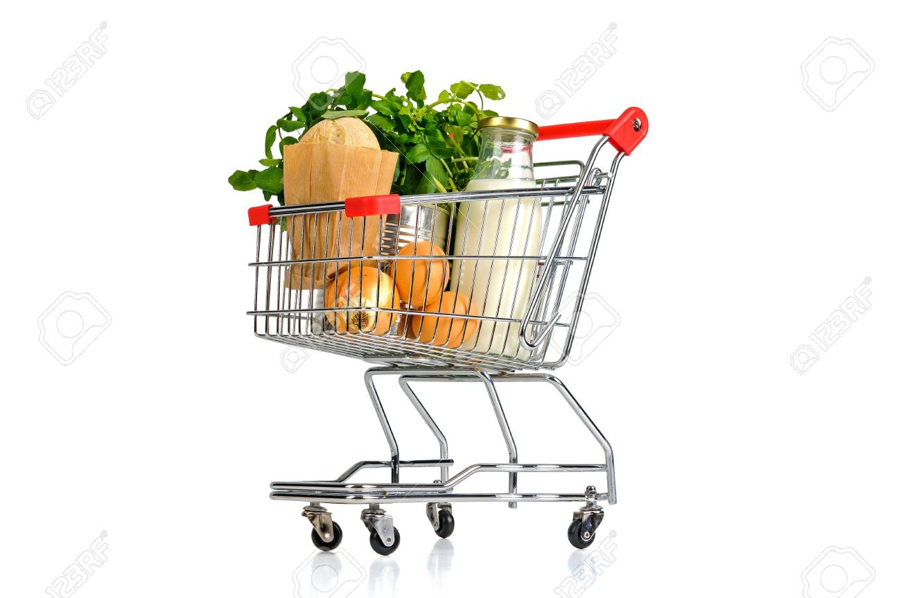 Shopping cart full with groceries isolated in white Stock Photo - 19297750