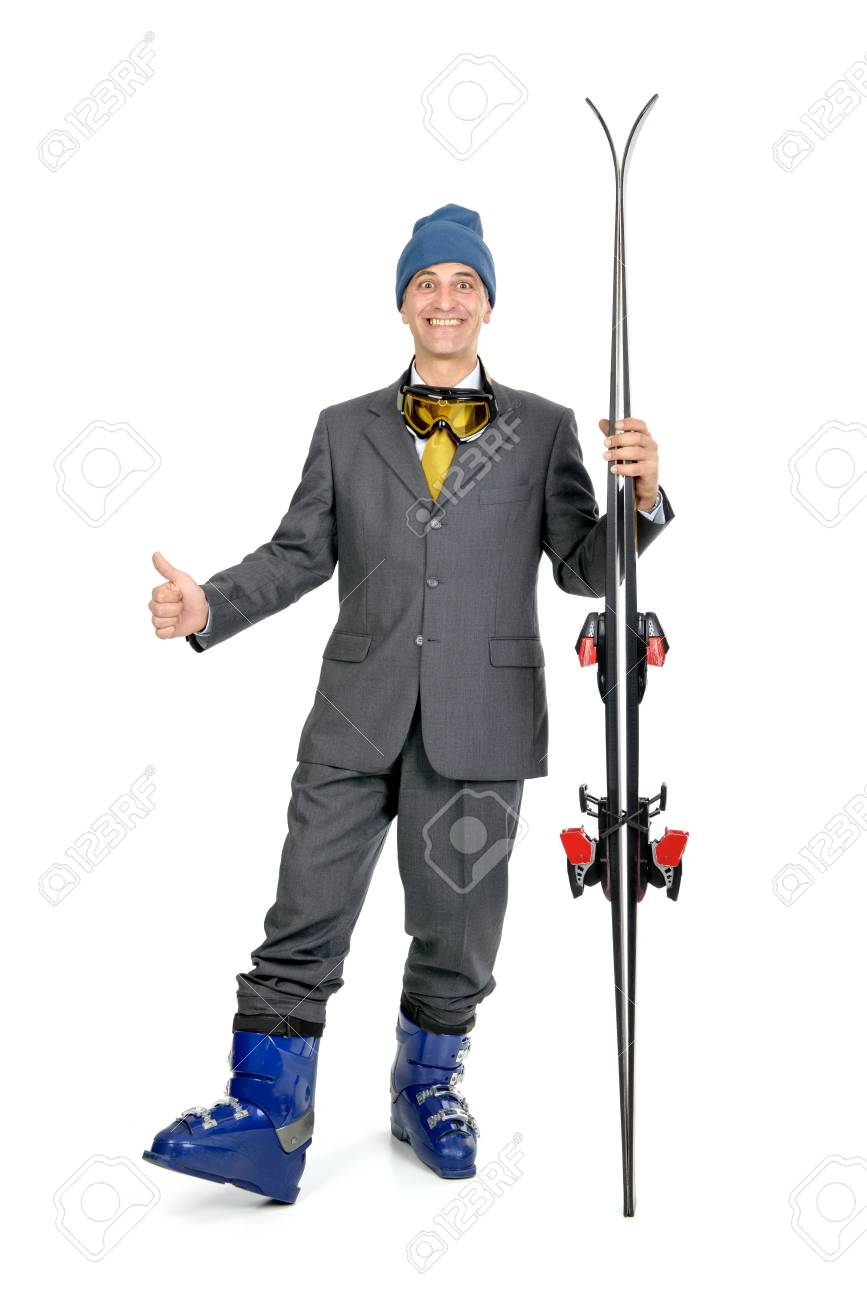 Businessman with ski gear isolated in white Stock Photo - 20680558 0eb1148b6