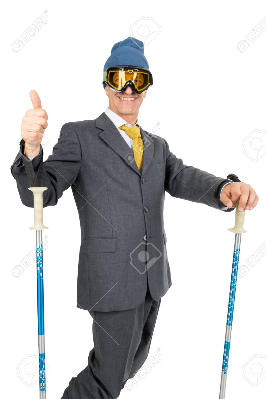 Businessman with ski gear isolated in white Stock Photo - 20680559 c100f23b0