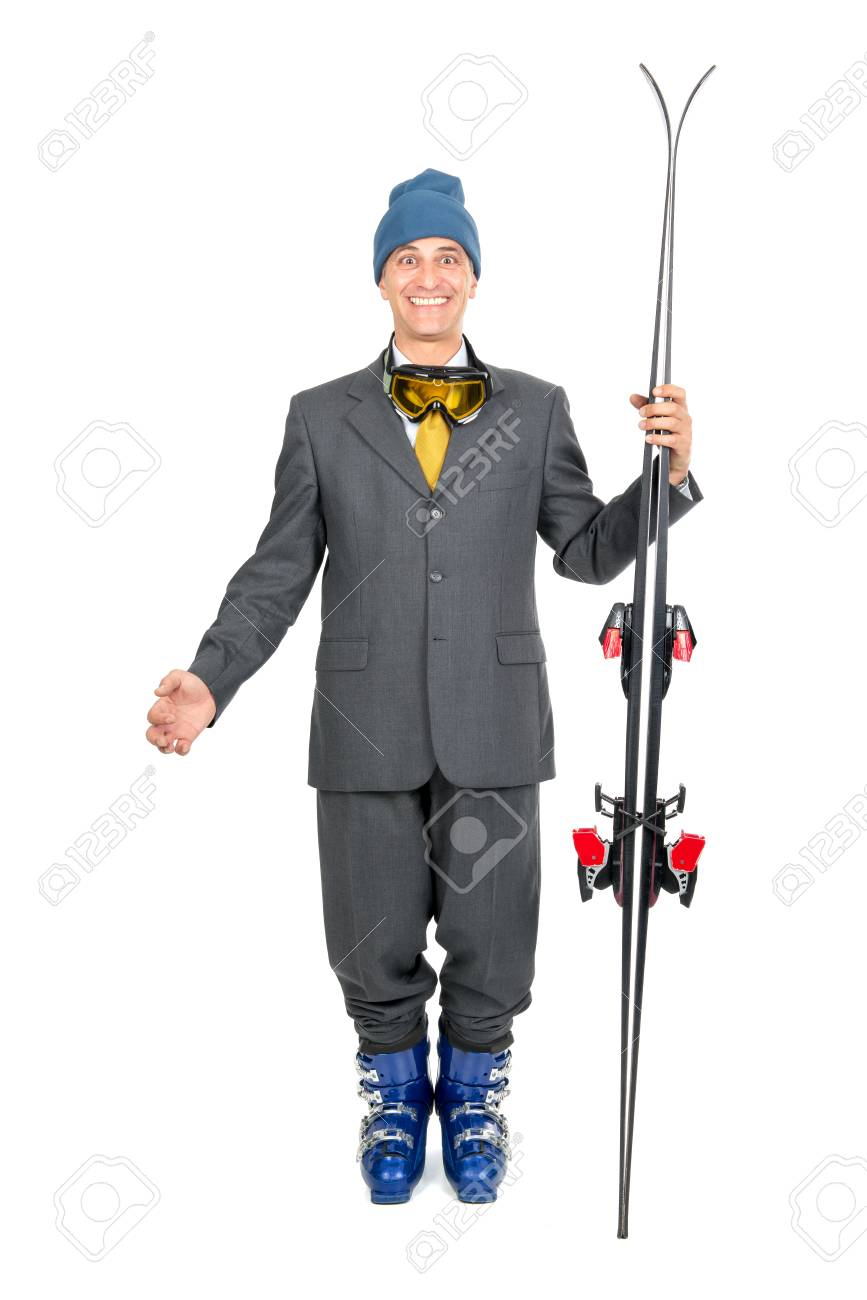 Businessman with ski gear isolated in white Stock Photo - 23752764 a2dc2bb70