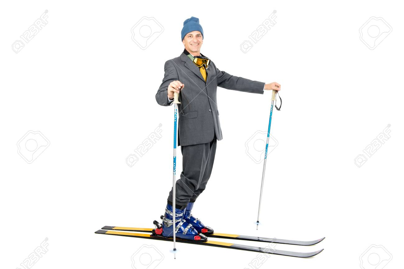 Businessman with ski gear isolated in white Stock Photo - 24234002 f72fca1de
