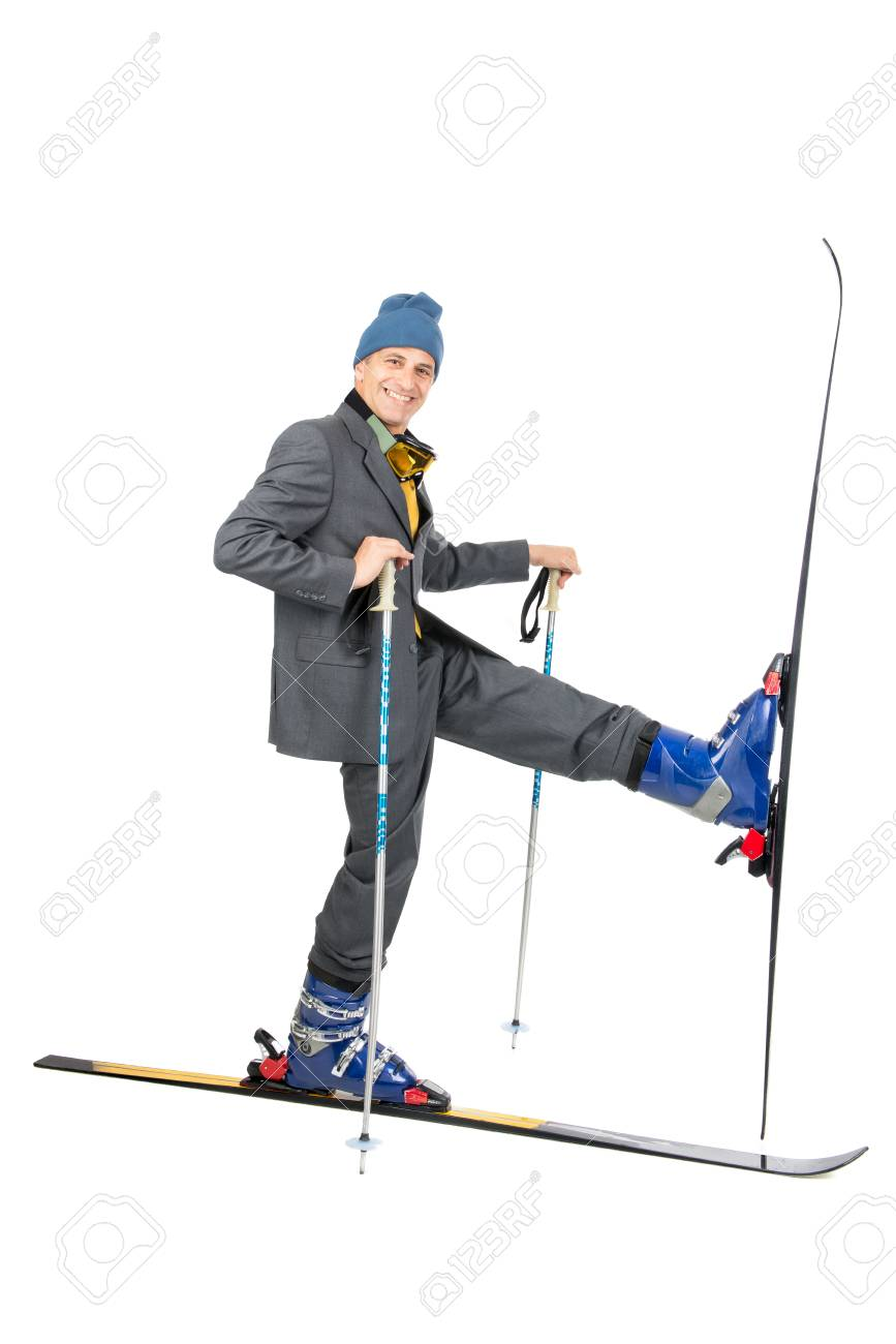 Businessman with ski gear isolated in white Stock Photo - 24219120 6f5970dbe