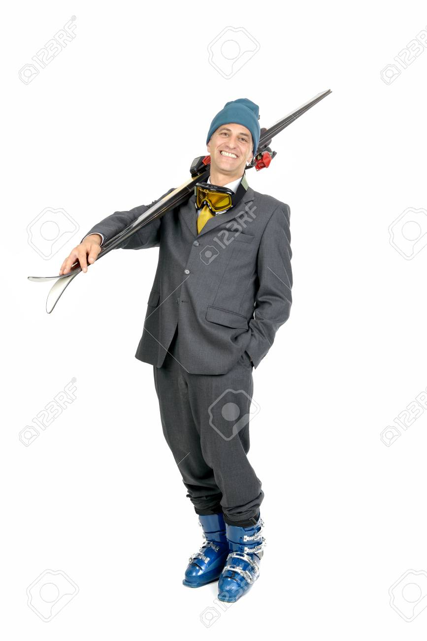 Businessman with ski gear isolated in white Stock Photo - 25374419 cb1a6e947