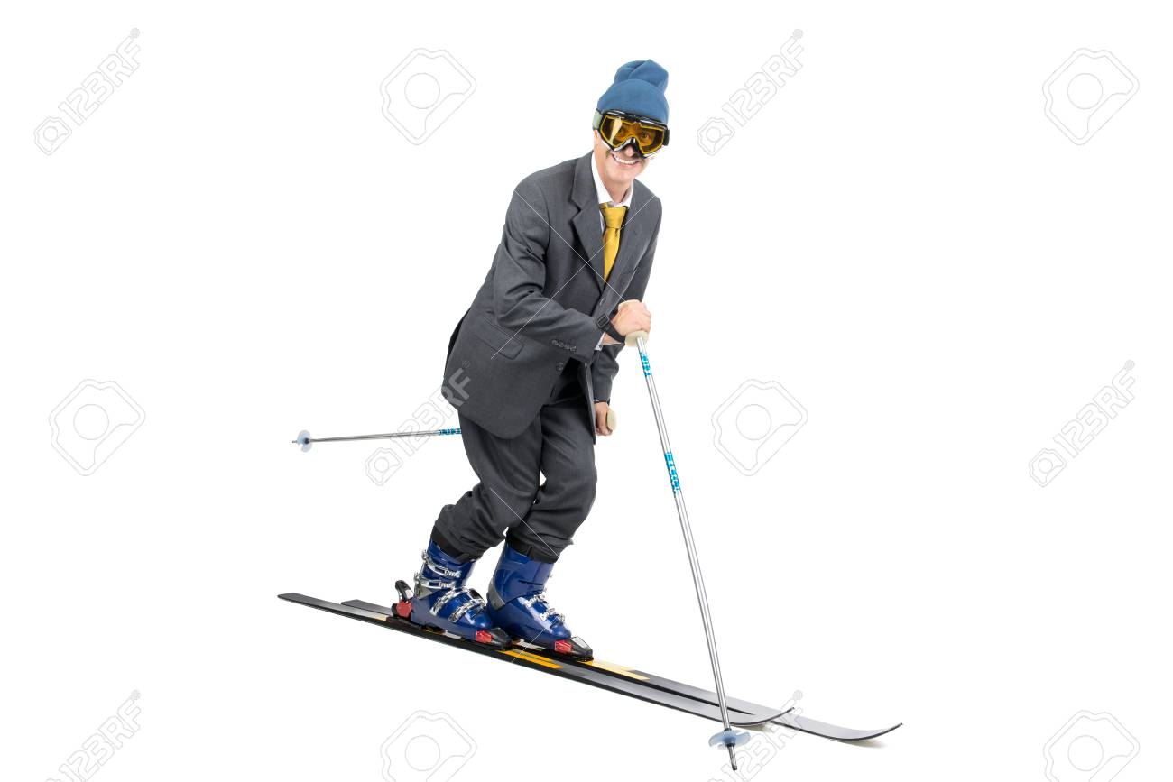 Businessman with ski gear isolated in white Stock Photo - 25374420 b31b361ef