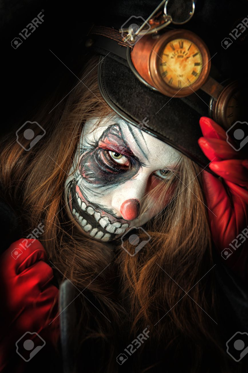 Teenage Girl With Scary Clown Face Painting Stock Photo Picture And