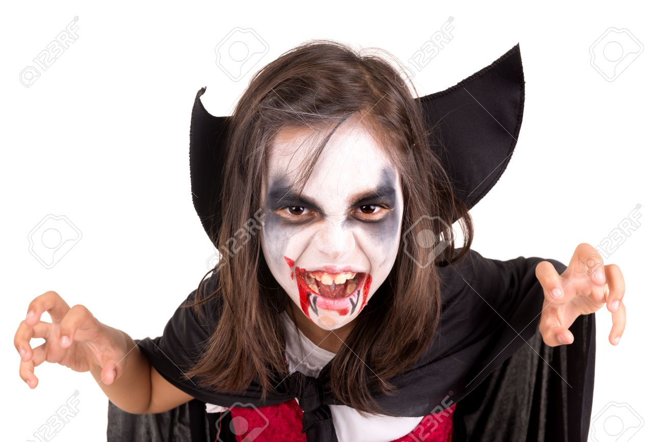Girl With Face Paint And Halloween Vampire Costume Isolated In Stock Photo Picture And Royalty Free Image Image 36866822