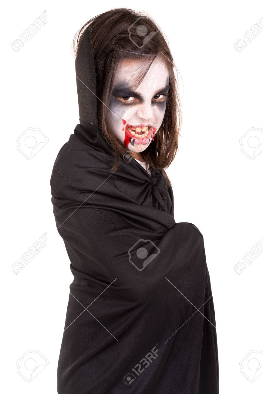Girl With Face-paint And Halloween Vampire Costume Isolated In ...