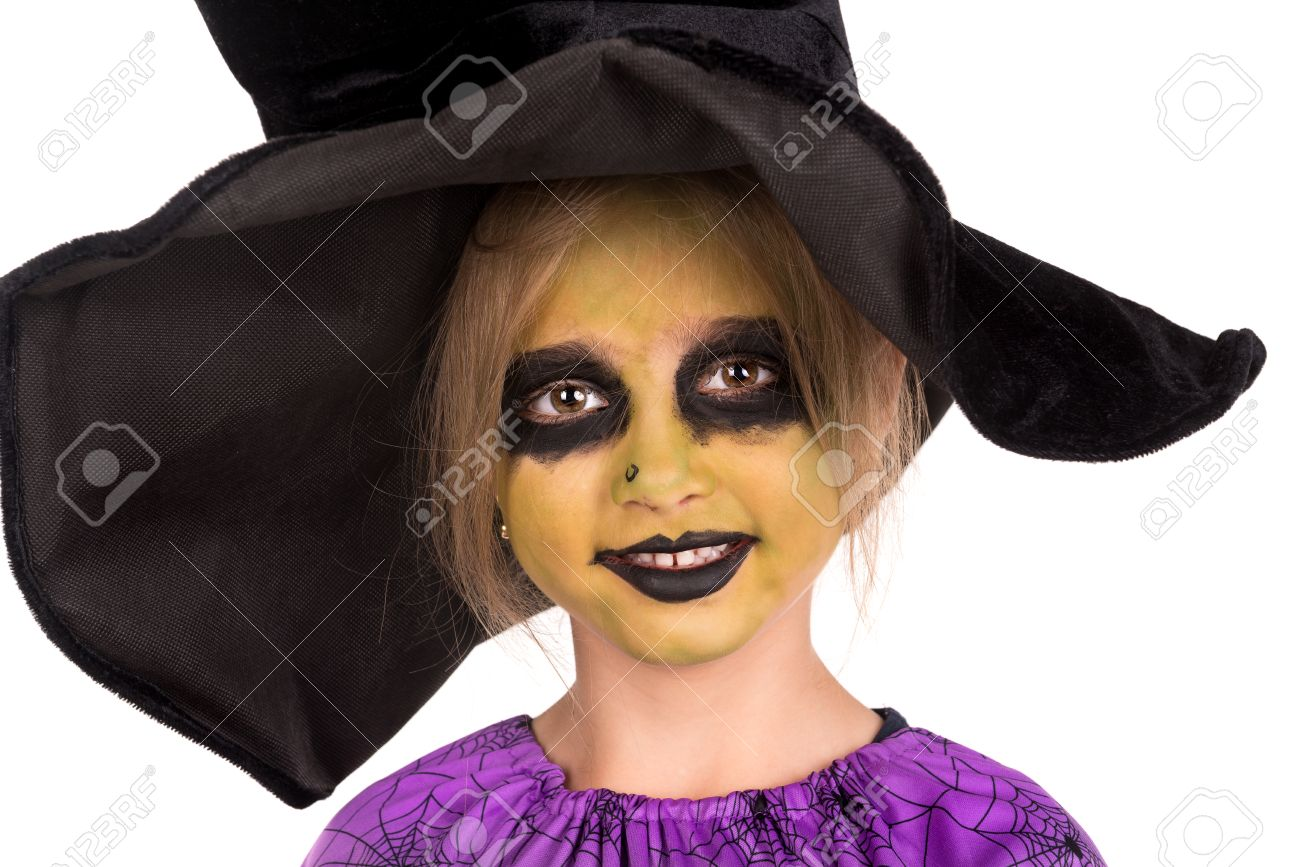 Girl With Face-paint And Halloween Witch Costume Isolated In ...