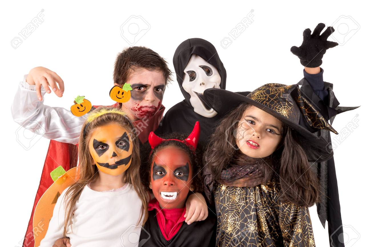 Gruppe Kinder Mit Gesichtsbemalung Und Halloween Kostume Lizenzfreie