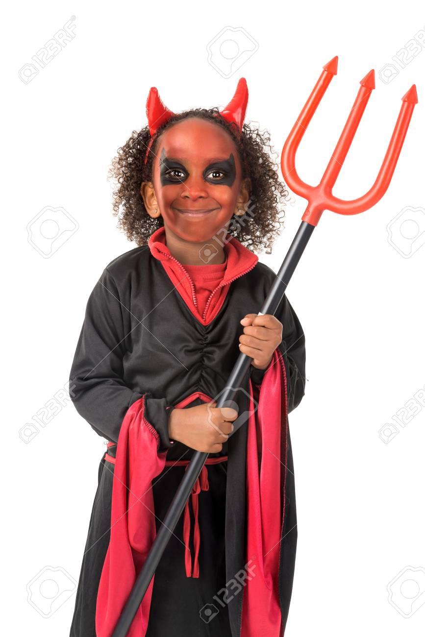 Halloween Kostuum.Meisje Met Gezicht Verf En Duivel Halloween Kostuum