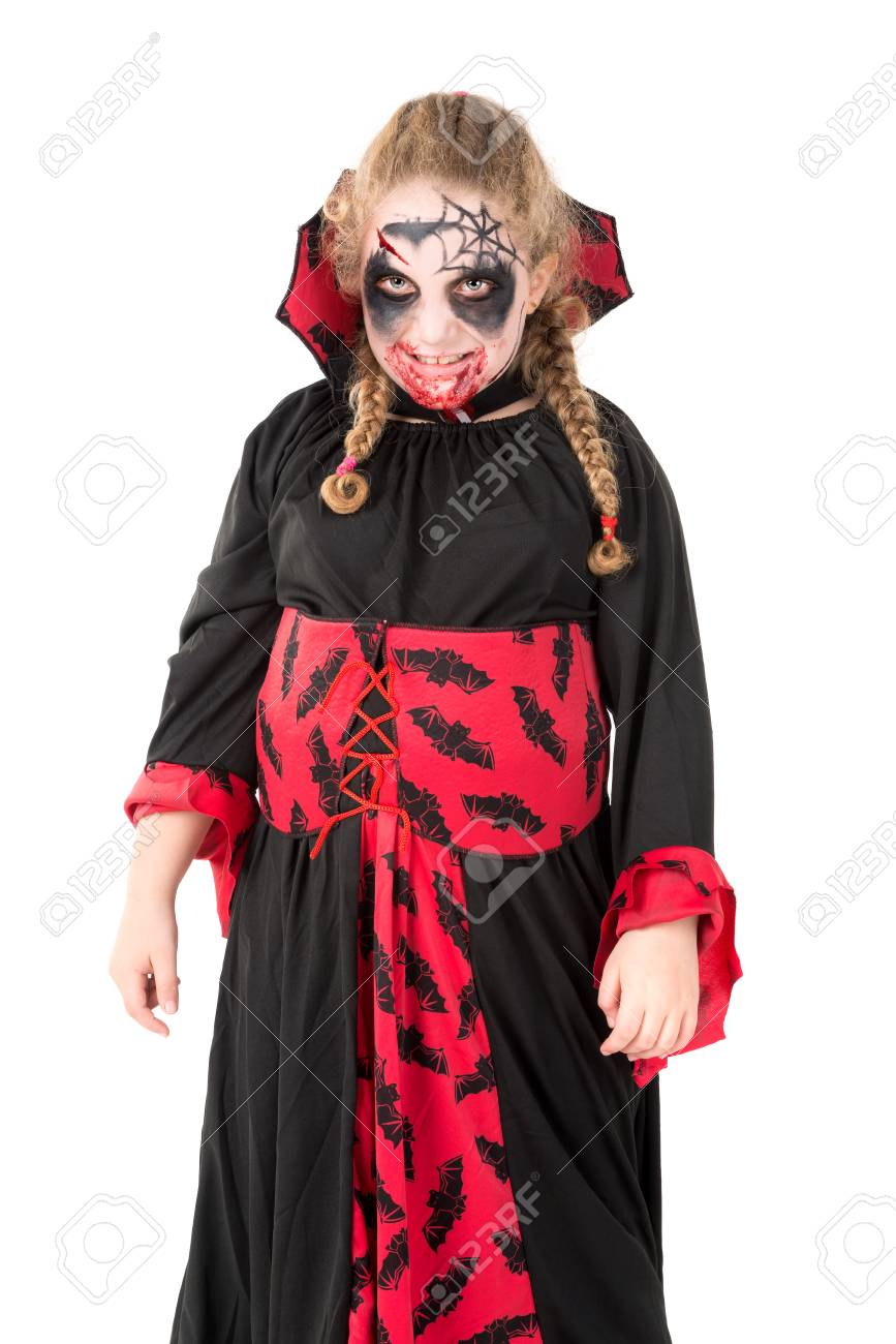 Girl With Face-paint And Vampire Halloween Costume Isolated In ...