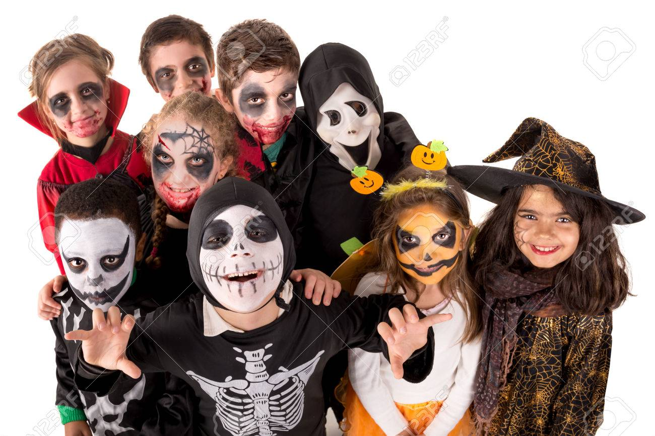 Group of kids with face-paint and Halloween costumes Stock Photo - 63769425  sc 1 st  123RF.com & Group Of Kids With Face-paint And Halloween Costumes Stock Photo ...