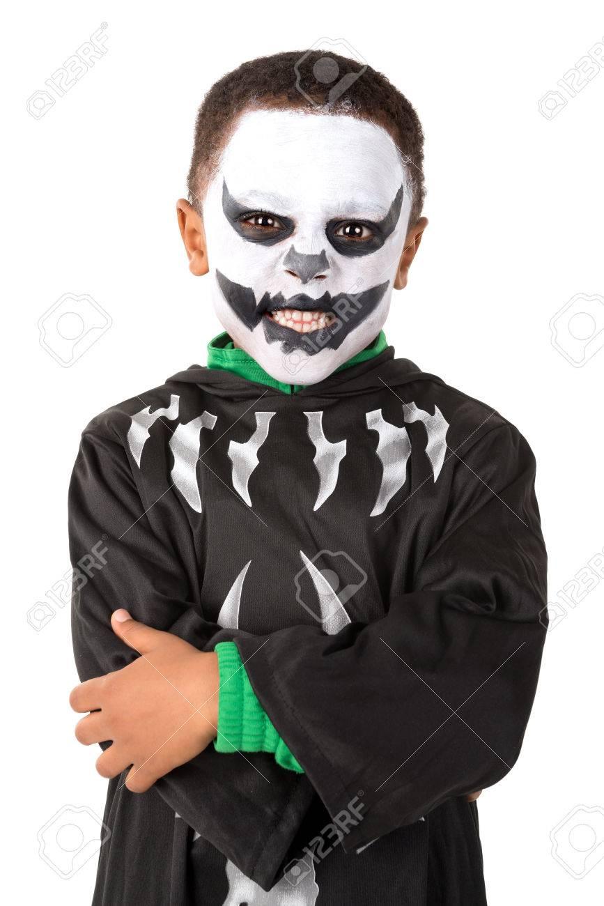 Halloween Kostuum.Jongen Met Gezicht Verf En Skelet Halloween Kostuum
