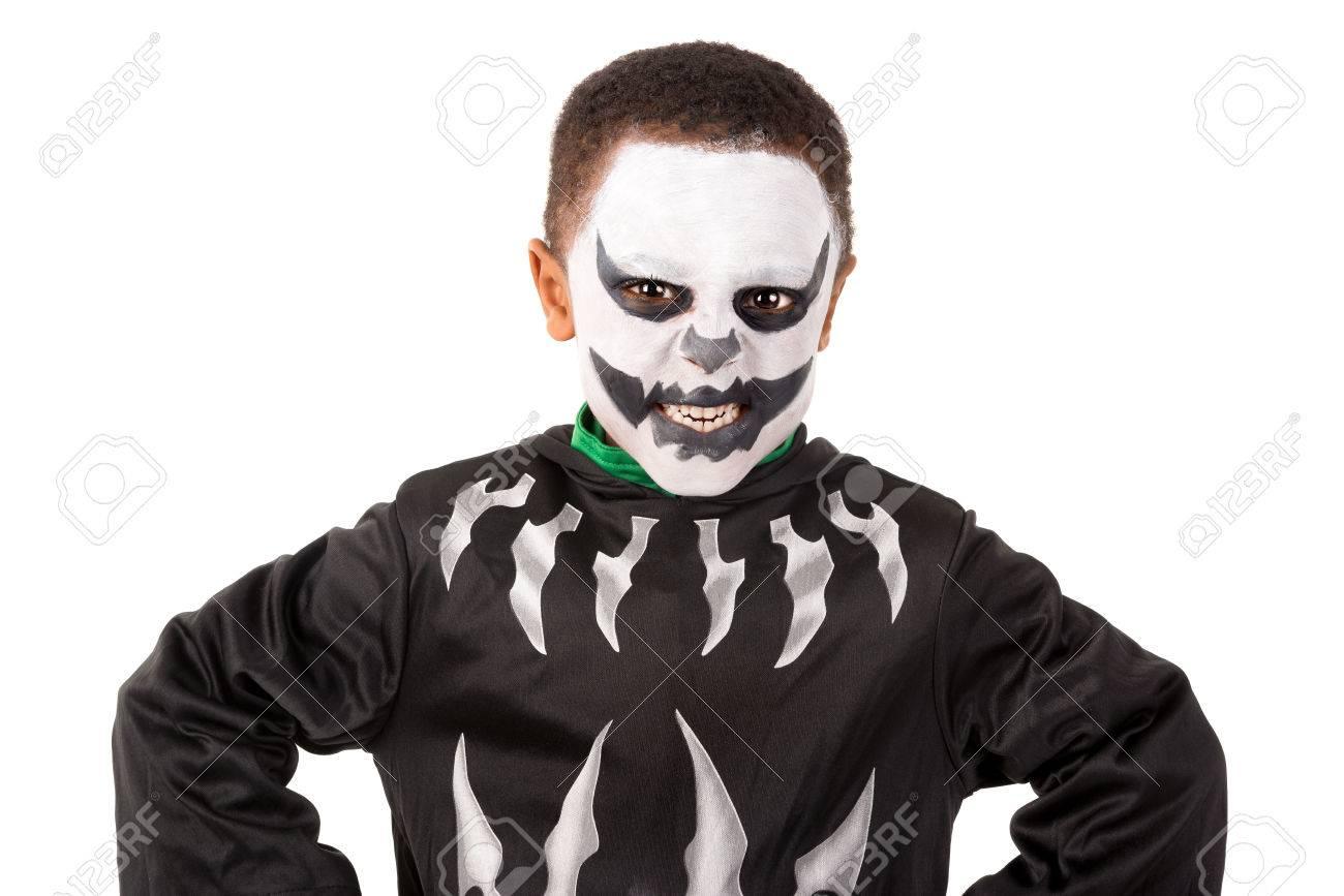 Skelet Voor Halloween.Jongen Met Gezicht Verf En Skelet Halloween Kostuum Geisoleerd In Het Wit