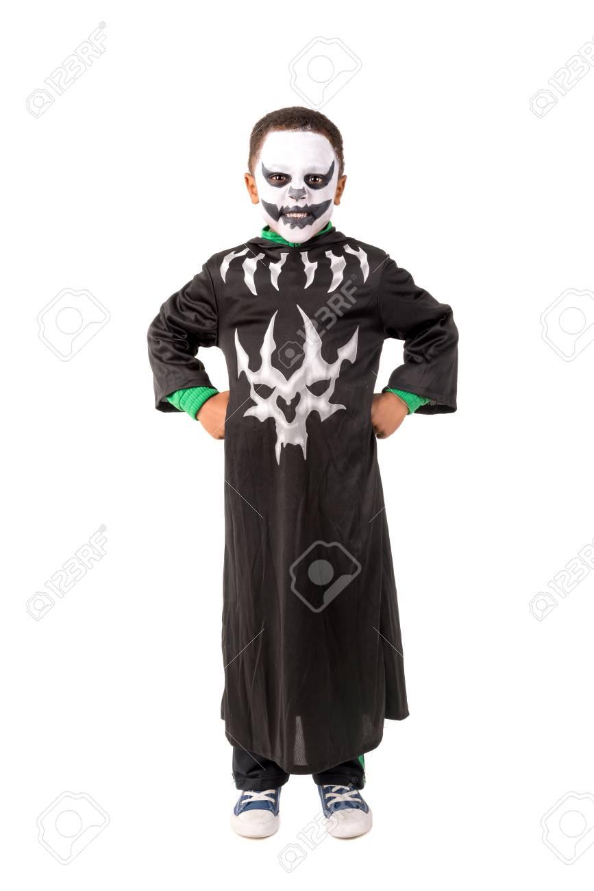 Halloween Kostuum.Jongen Met Gezicht Verf En Skelet Halloween Kostuum In Wit