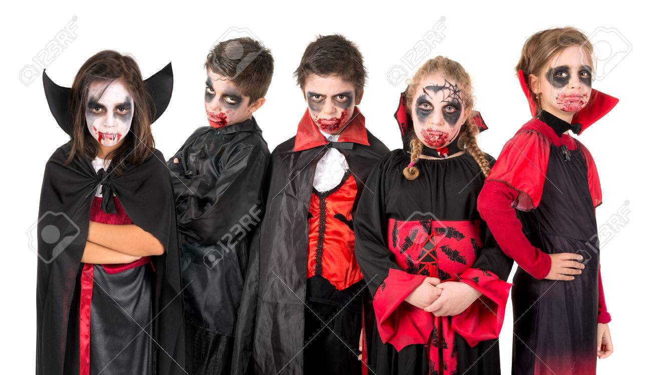 group of kids with face paint and halloween vampire costumes stock photo 83033131 - Vampire Pictures For Kids