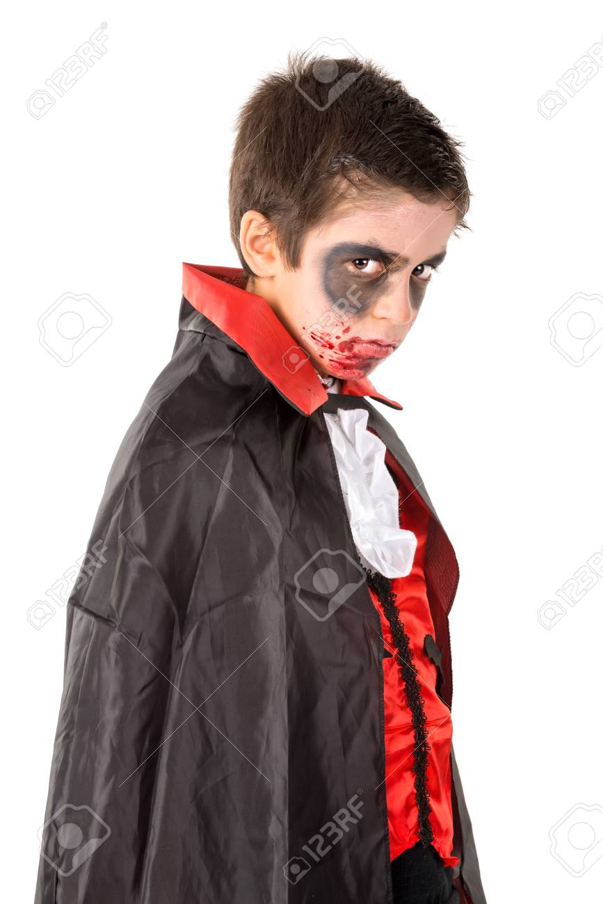 Boy With Face-paint And Vampire Halloween Costume Isolated In ...