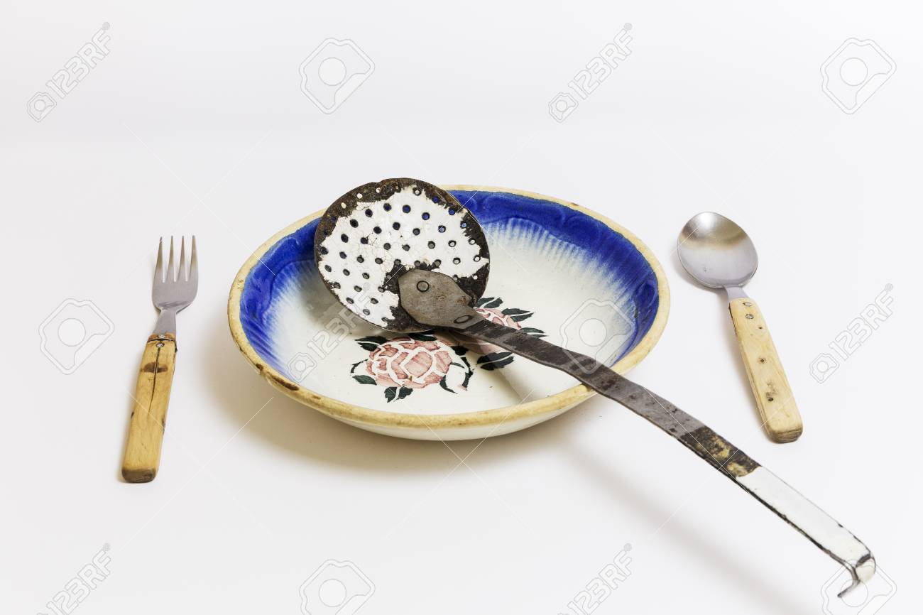 Old Kitchenware, Font, Slotted Spoon, Spoon And Fork, On A White ...