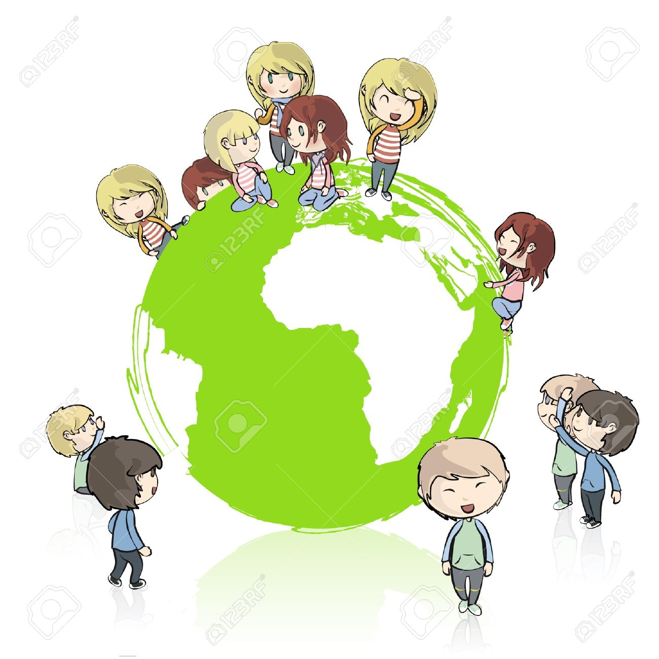Many young friends around the planet  Vector design Stock Vector - 16598787