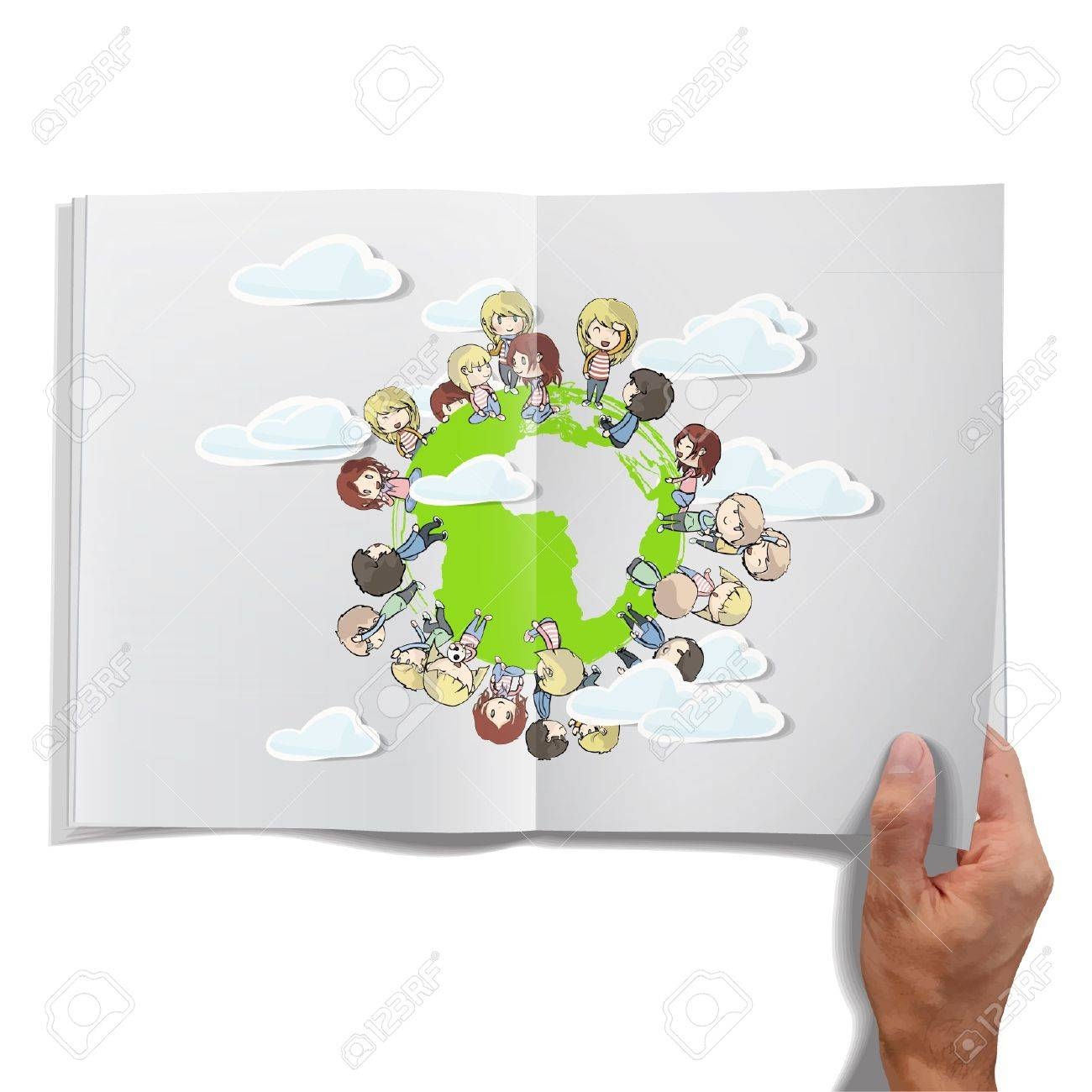 Isolated open book on white background with children around the world. Stock Vector - 16851693