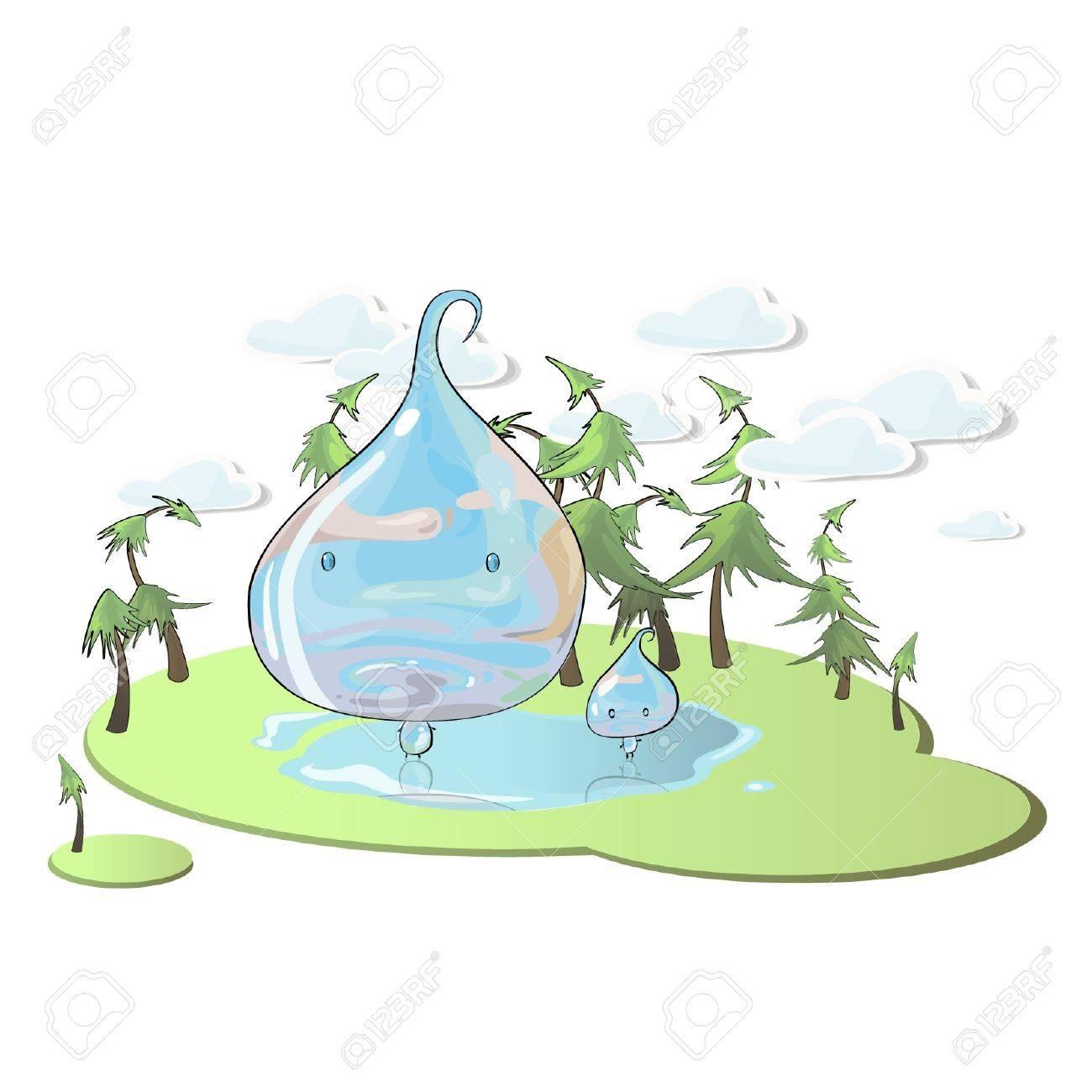 Drop of water in beautiful landscape. Stock Vector - 16851517