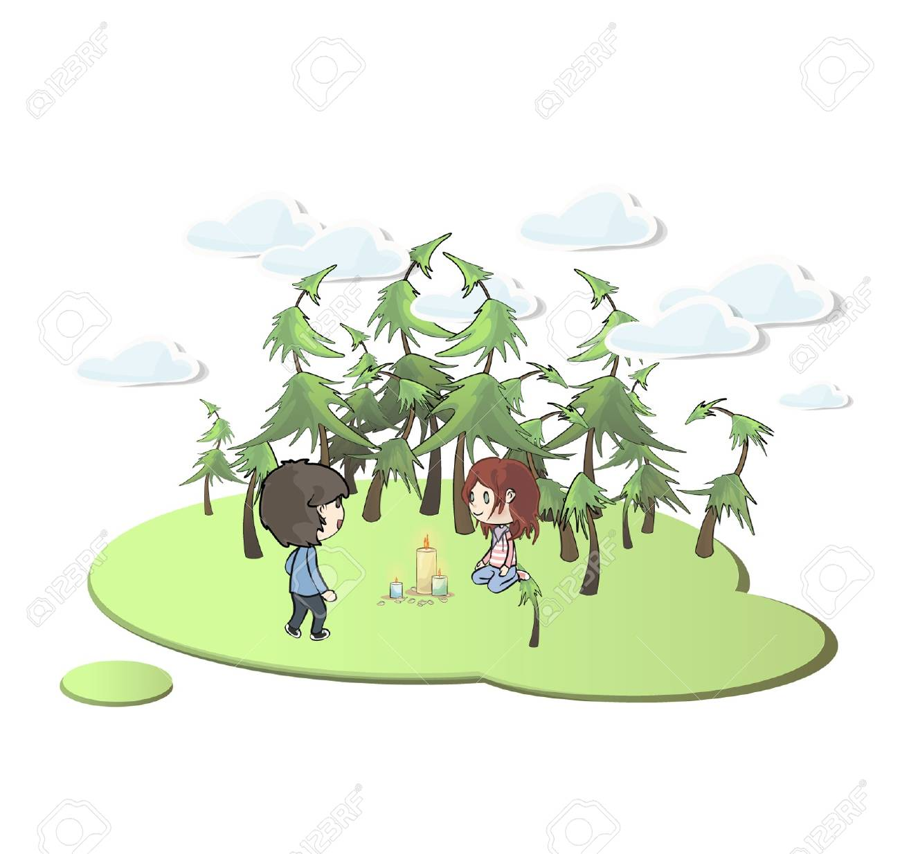 Kids with candles in beautiful landscape. Stock Vector - 16851481