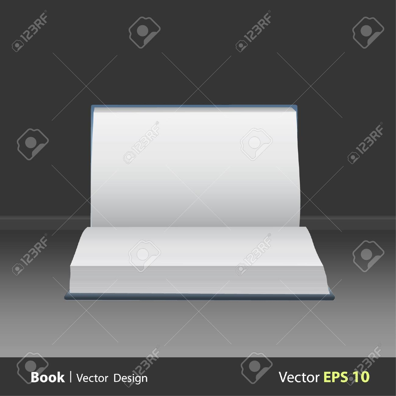 Opened empty book on gray background. Stock Vector - 16867268