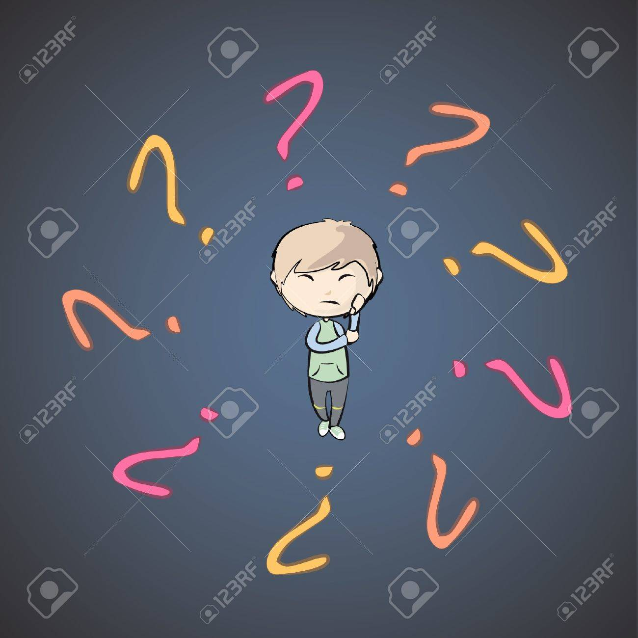 Boy surrounded by questions. Stock Vector - 16867494