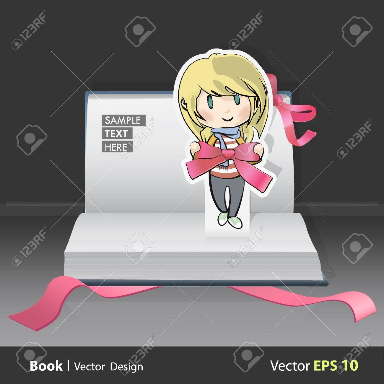 Blond girl with red ribbon in her hands inside a pop-up book. Stock Vector - 16867496