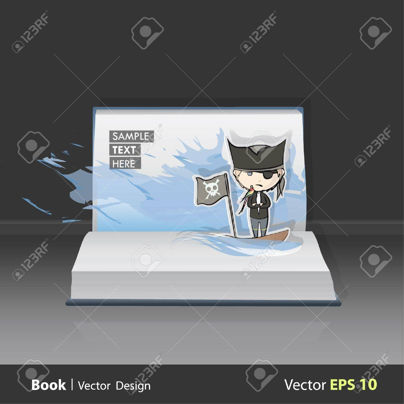 Open Pop Up Book with illustrations of pirate ship with parrot. Stock Vector - 16867597