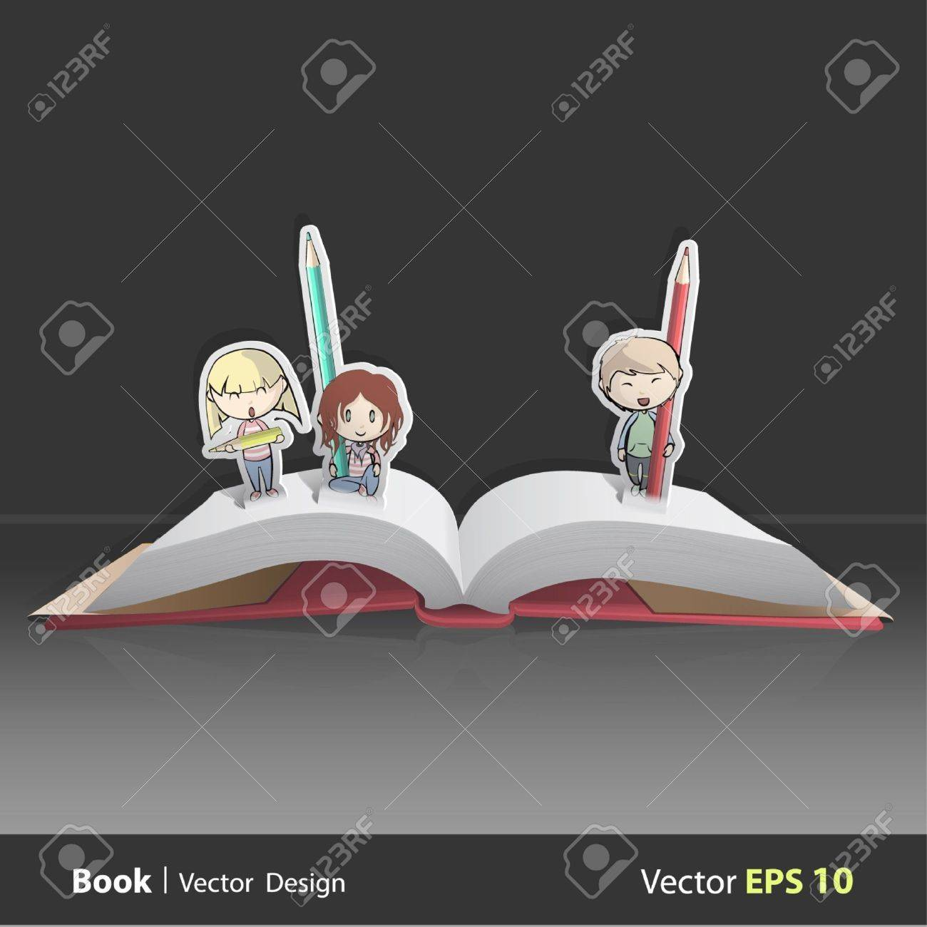 Pop up book with kids. Stock Vector - 16867801