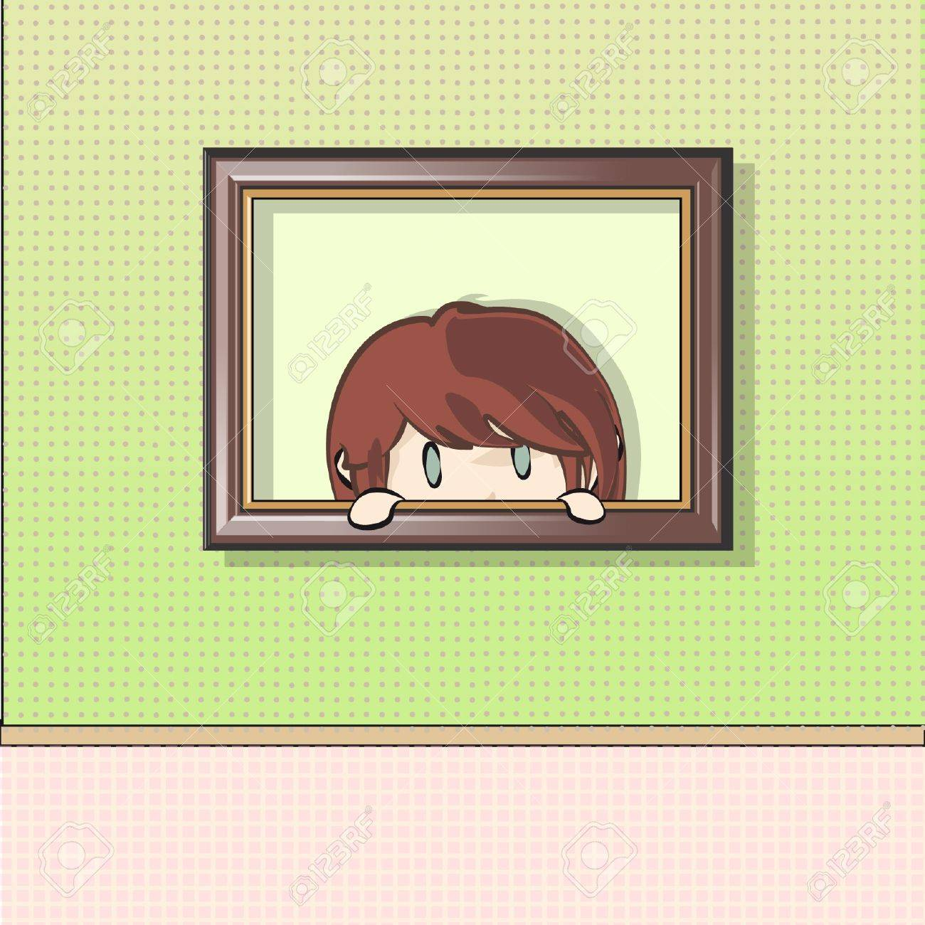 Girl having a look from a painting  Vector illustration Stock Vector - 16932491