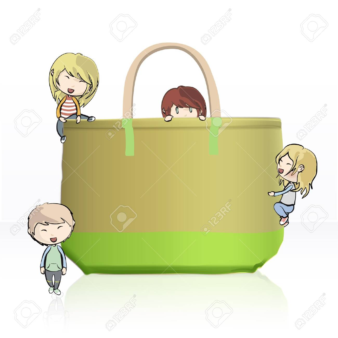 Many children playing with a big green bag  Vector illustration Stock Vector - 16932510