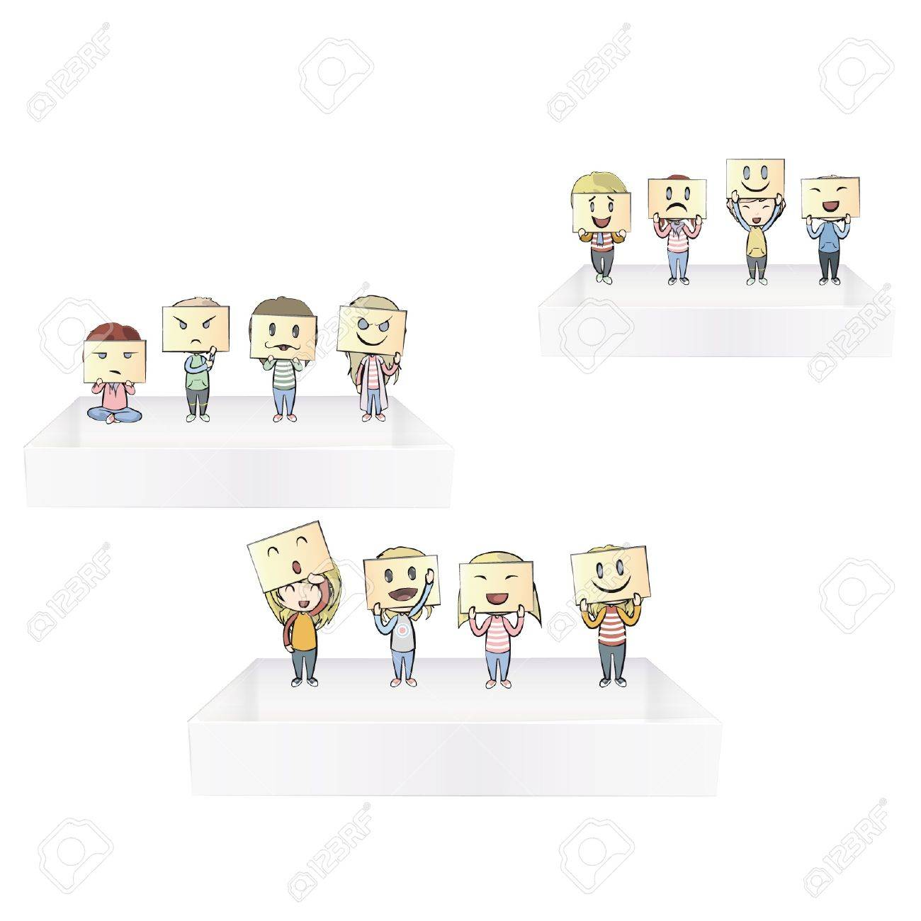 Collection of children with multiple emotions on shelves. Stock Vector - 17042433