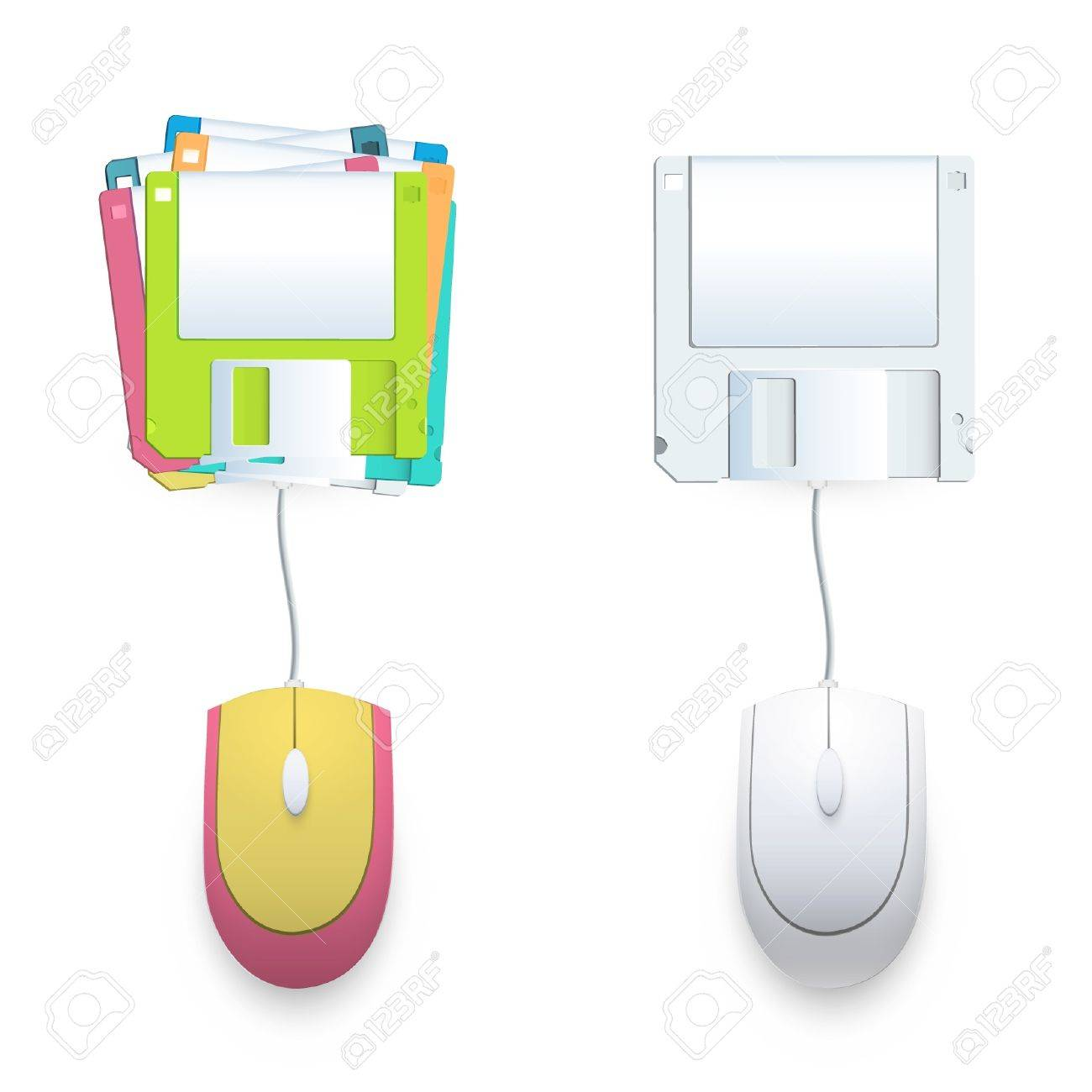 Computer mouse connected to a diskette Stock Vector - 17042445