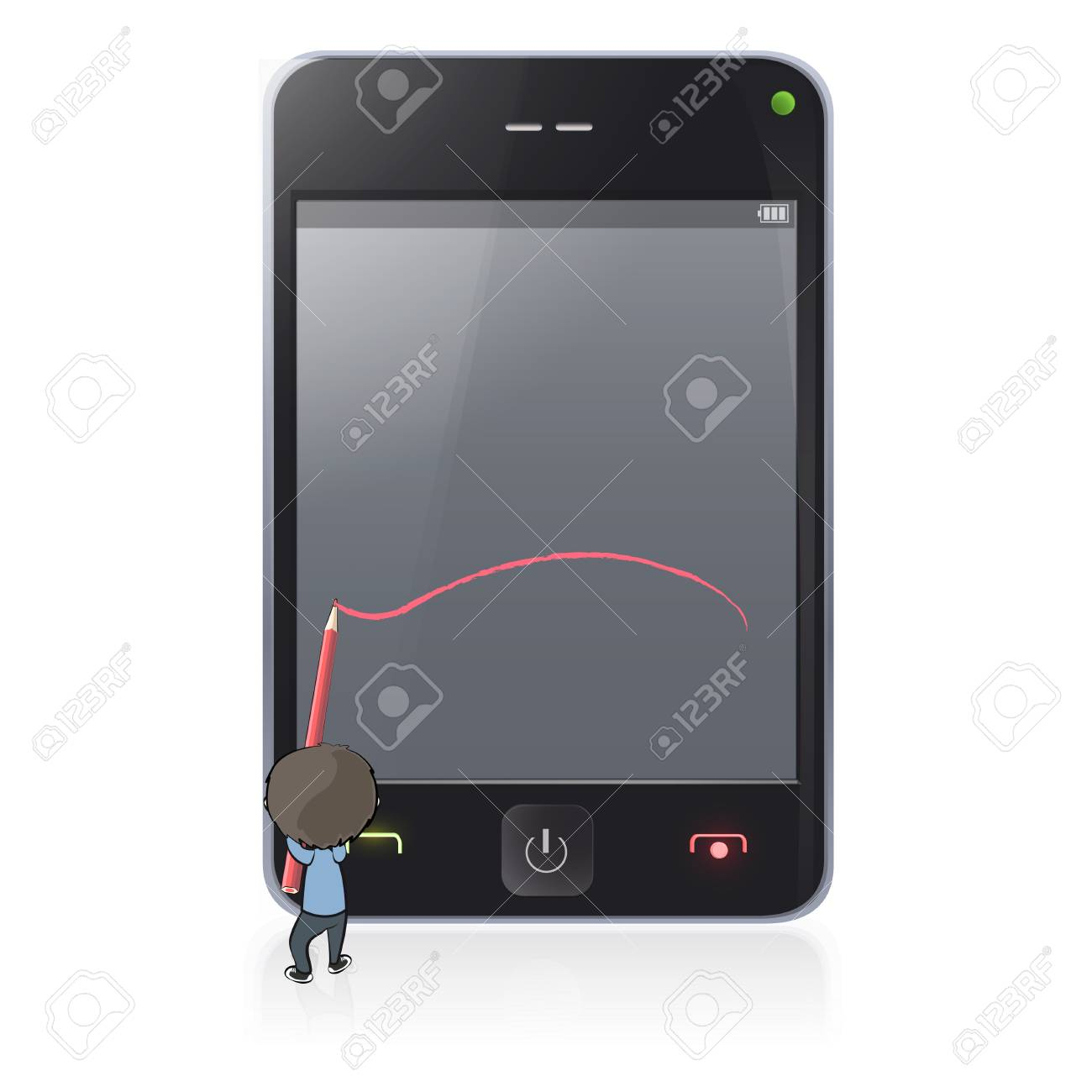 Kid writes sample text in phone screen Stock Vector - 17042428