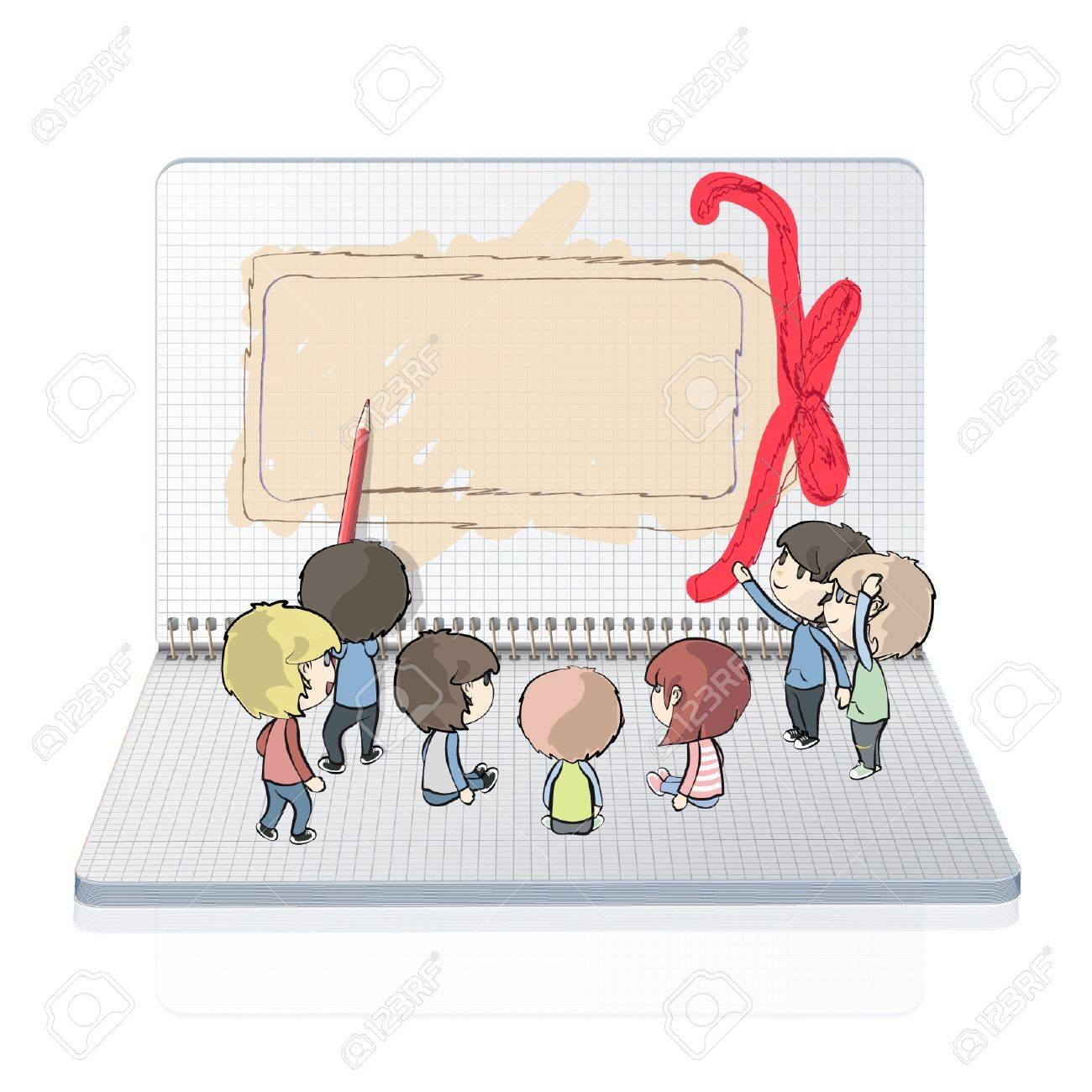Many Kids Drawing A Gift Card In Notebook Vector Design Royalty Free