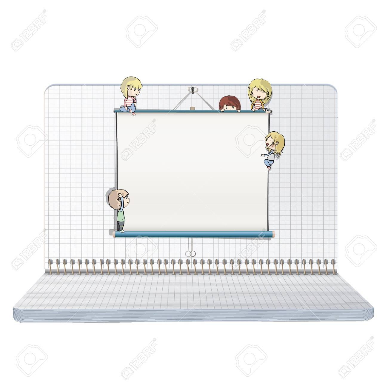 Open notebook with many children around a white screen  Vector design Stock Vector - 17265517