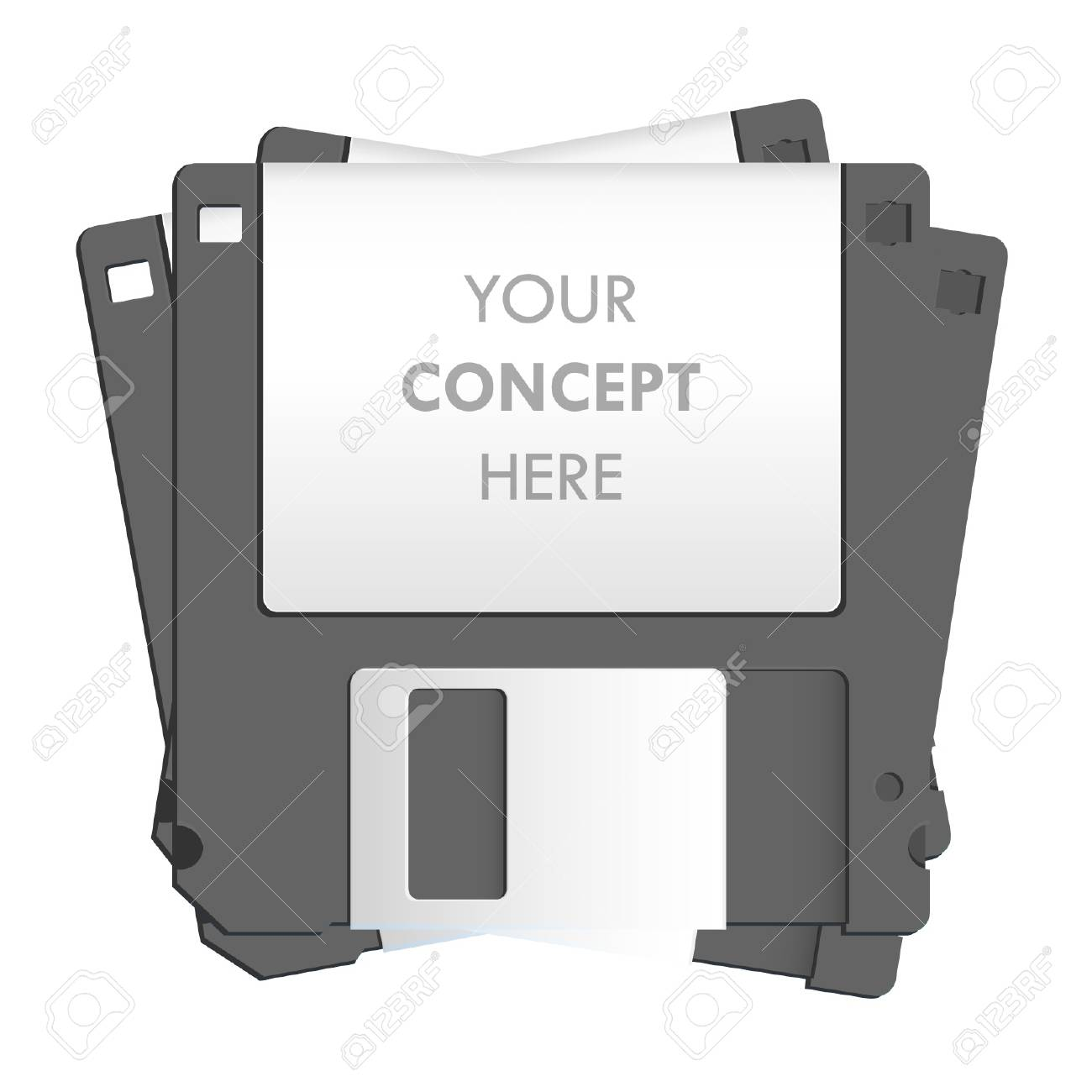 Black diskette on white background  Vector design Stock Vector - 17265348