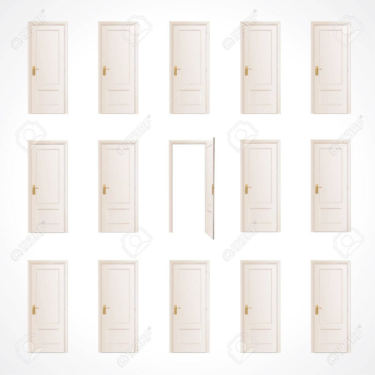 Lot of white doors and one open  Vector design Stock Vector - 17265526