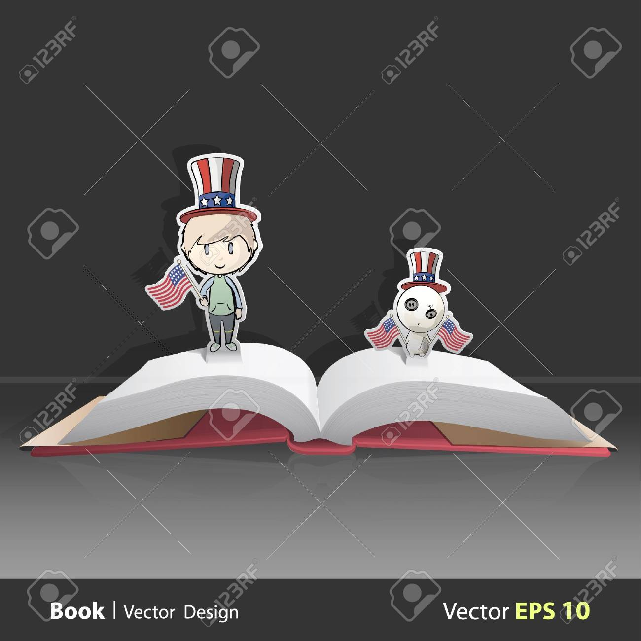 Open book with child and teddy dressed as American with flags  Vector design  Pop-Up Illustration Stock Vector - 17265520