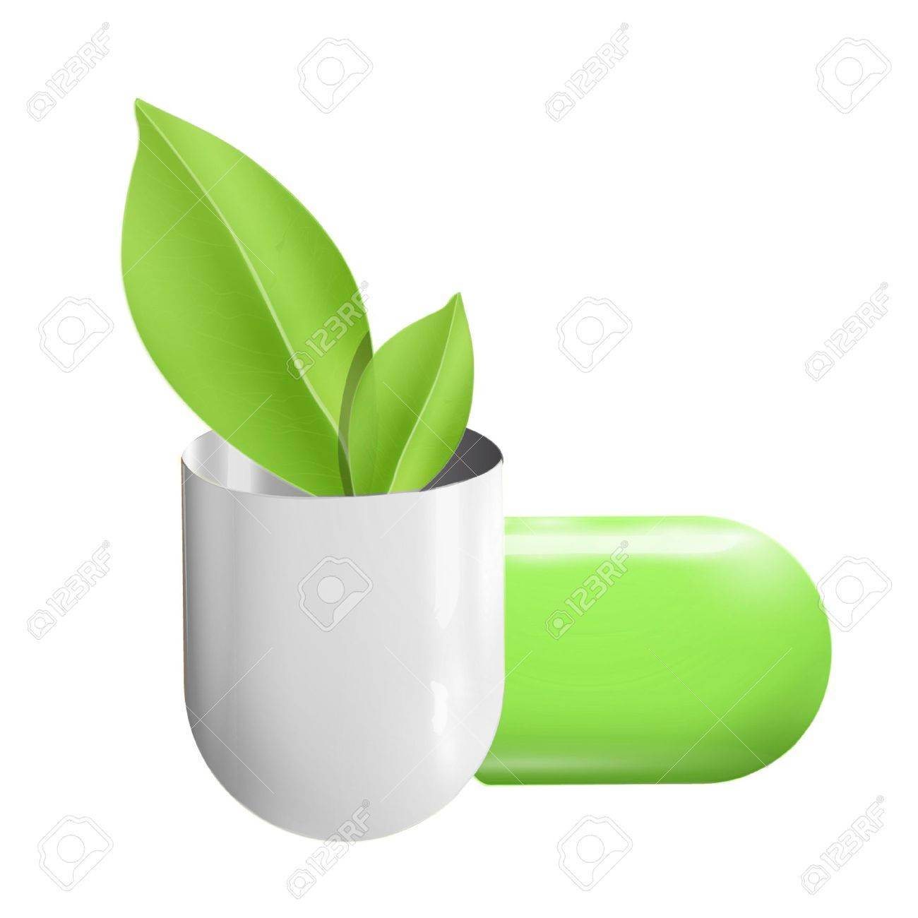 Pill whit ecologic leaf inside  Vector design Stock Vector - 17303206