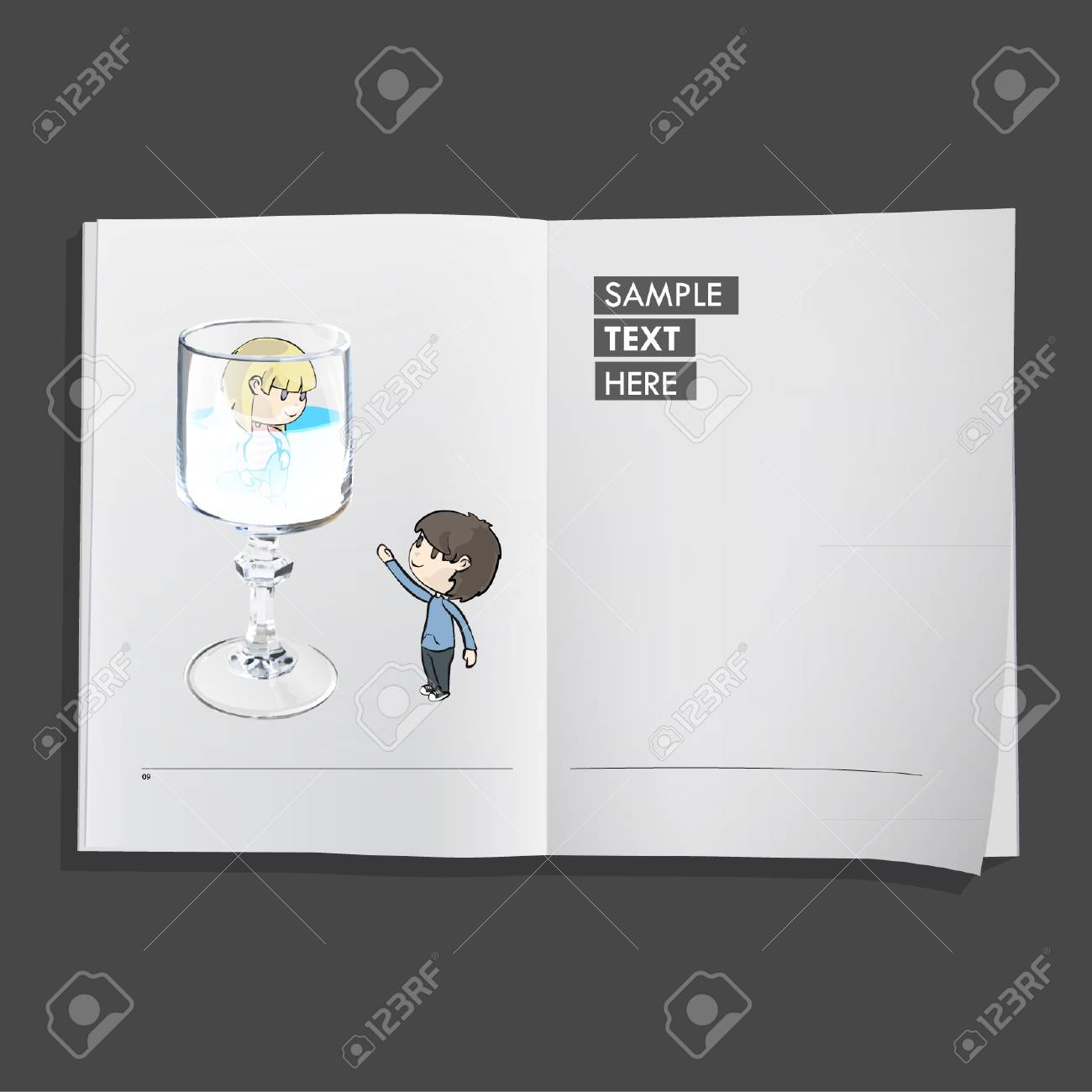 Two friends and one glass inside a book  Vector design Stock Vector - 17303231