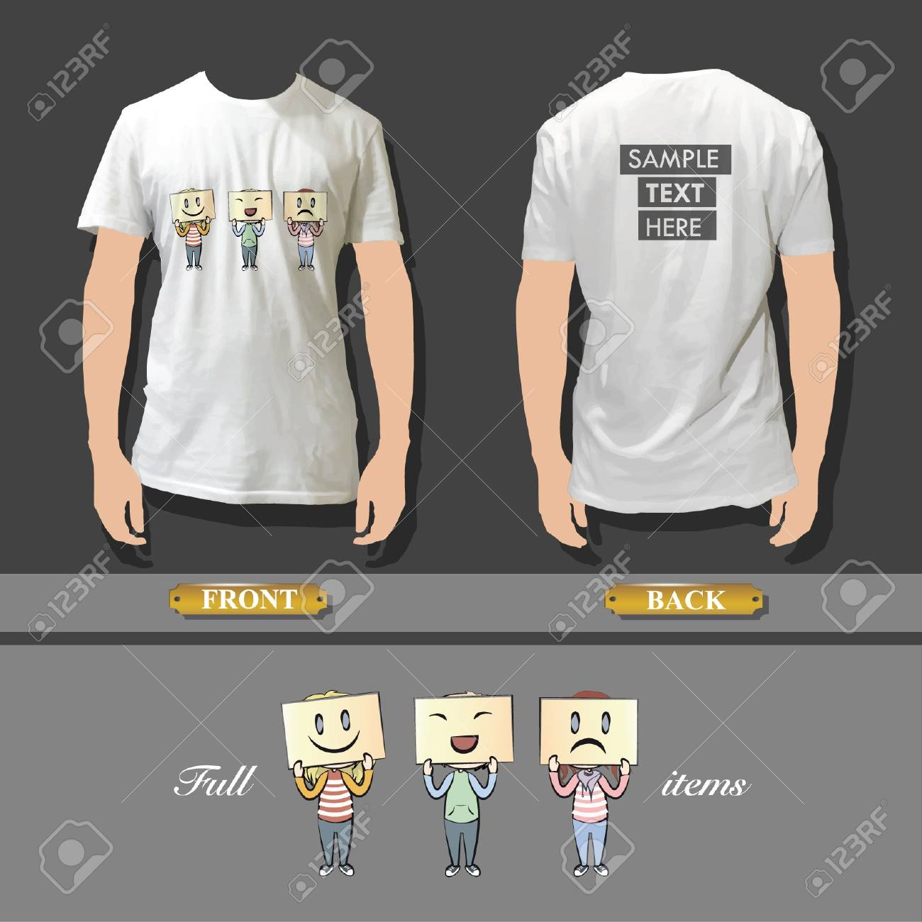 Kids with multiple emotions in a shirt  Realistic vector illustration Stock Vector - 17303233