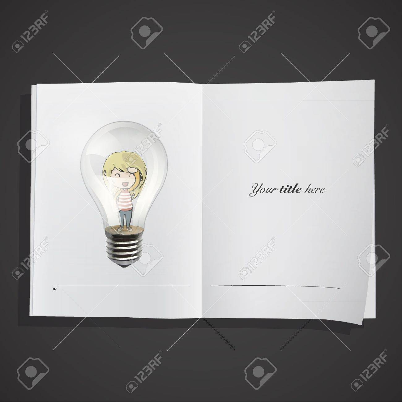 Young girl inside a bulb in a realistic book   design Stock Vector - 17344705