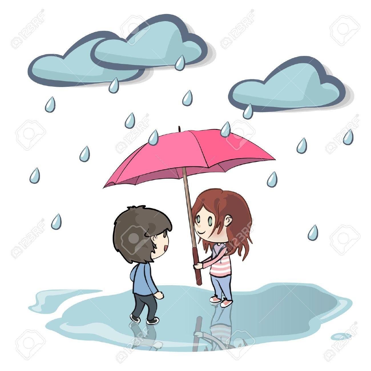 Children in the rain  Vector illustration Stock Vector - 17330484