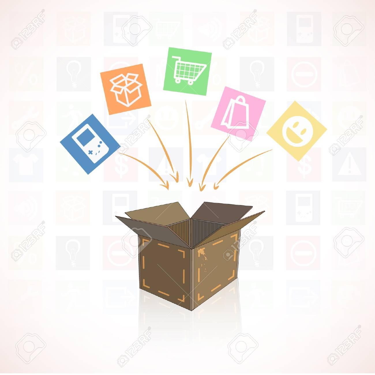 Box shopping of shopping center ready to send   illustration Stock Vector - 17344281