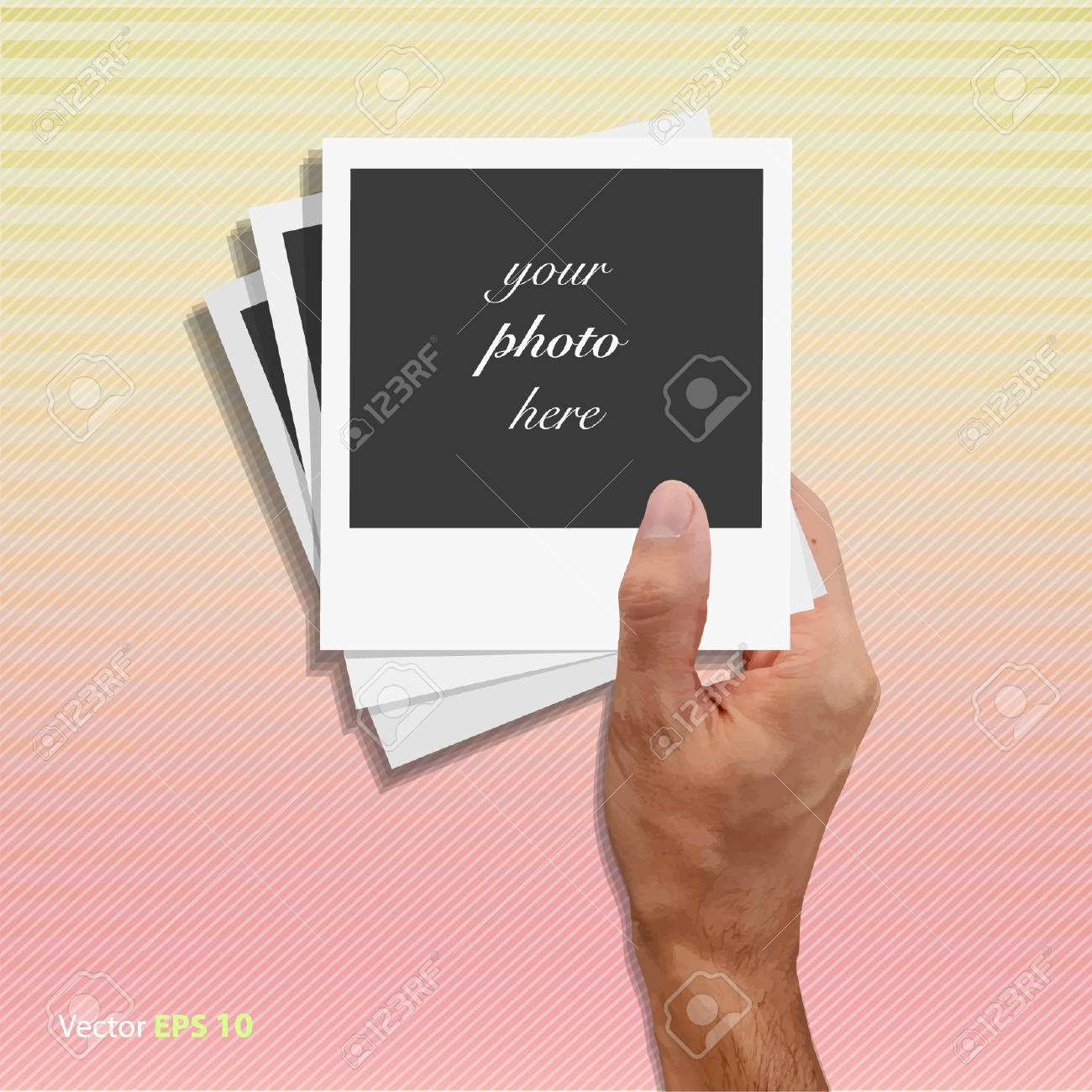Empty photographs in one hand   illustration Stock Vector - 17344290