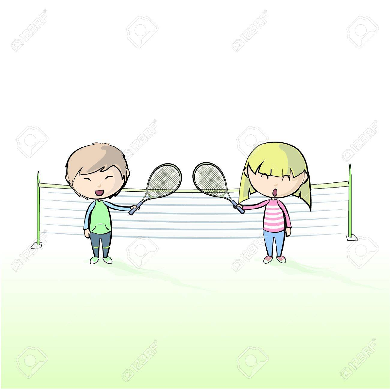Children playing tennis   Design Stock Vector - 17343938